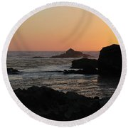 Point Lobos Sunset Round Beach Towel