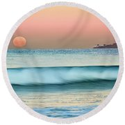 Point Loma Moonset Round Beach Towel