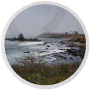 Round Beach Towel featuring the photograph Point Montara Lighthouse by David Bearden