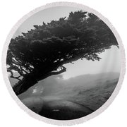 Point Reyes Fog Black And White Round Beach Towel