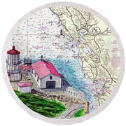 Point Reyes Light Station Round Beach Towel