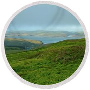 Point Reyes Overlooking Tomales Bay Round Beach Towel