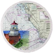 Point Sur Light Station Round Beach Towel