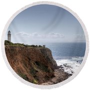 Point Vicente Lighthouse In Winter Round Beach Towel