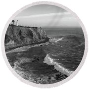 Point Vicente Lighthouse Palos Verdes California - Black And White Round Beach Towel