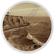 Point Vicente Lighthouse Palos Verdes California - Sepia Rendition Round Beach Towel