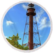 Round Beach Towel featuring the digital art Point Ybel Lighthouse by Sharon Batdorf