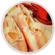 Pointe Shoes And Violin Round Beach Towel