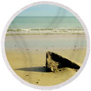 Pointed Rock At Squibby Round Beach Towel