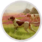 Pointers In A Landscape Round Beach Towel