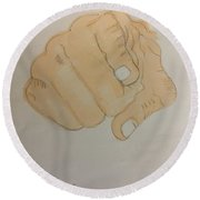 Pointing Finger Round Beach Towel