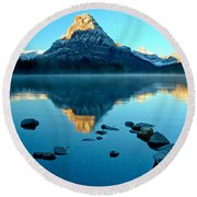 Round Beach Towel featuring the photograph Pointing To Sinopah by Adam Jewell