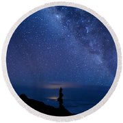 Pointing To The Heavens Round Beach Towel