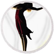 Poise In Silhouette Round Beach Towel