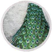 Poised Peacock Round Beach Towel