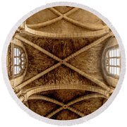 Round Beach Towel featuring the photograph Poissy, France - Ceiling, Notre-dame De Poissy by Mark Forte