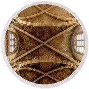 Poissy, France - Ceiling, Notre-dame De Poissy Round Beach Towel