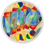 Poker Abstract Watercolor Round Beach Towel