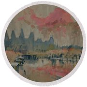 Pokkenweer Museum Square In Amsterdam Round Beach Towel