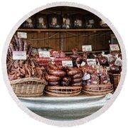 Poland Meat Market Round Beach Towel