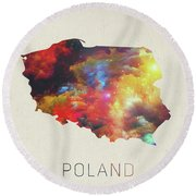 Poland Watercolor Map Round Beach Towel