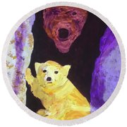 Round Beach Towel featuring the painting Cave Bear With Cub by Donald J Ryker III