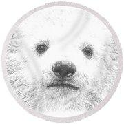 Polar Bear Cub Round Beach Towel