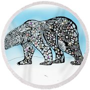 Round Beach Towel featuring the digital art Polar Bear Doodle by Darren Cannell