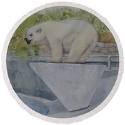 Round Beach Towel featuring the painting Polar Bear In Vancouver Stanley Park Zoo Vancouver, Bc by Kelly Mills