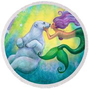 Polar Bear Kiss Round Beach Towel by Sue Halstenberg