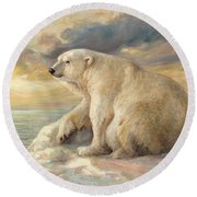 Round Beach Towel featuring the painting Polar Bear Rests On The Ice - Arctic Alaska by Svitozar Nenyuk