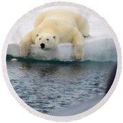 Polar Bear Says 'huh' Round Beach Towel