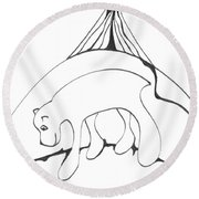 Polar Bear Symbol Round Beach Towel