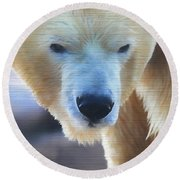 Polar Bear Wooden Texture Round Beach Towel by Dan Sproul