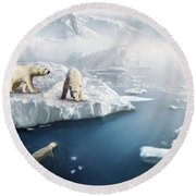 Polar Bears Round Beach Towel