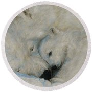 Round Beach Towel featuring the drawing Polar Snuggle by Meagan  Visser