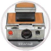 Polaroid Sx70 On White Round Beach Towel