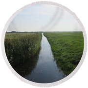 Polder Near Camperduin Round Beach Towel