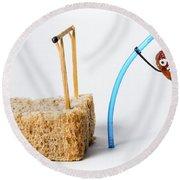 Pole Vaulting Raisin Round Beach Towel