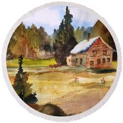 Polebridge Mt Cabin Round Beach Towel
