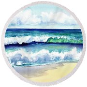 Round Beach Towel featuring the painting Polhale Waves 3 by Marionette Taboniar