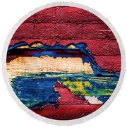 Police Car Abstract Round Beach Towel