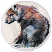 Polish Wolf Pup Round Beach Towel