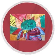 Politicats Copyright Did North Korea Just Fire A Missile Over Japan? Round Beach Towel