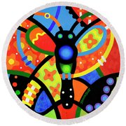 Kaleidoscope Butterfly Round Beach Towel