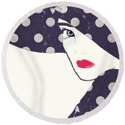 Polka Dot Fashion Hat Round Beach Towel