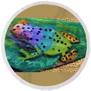 Polka-dotted Rainbow Frog Round Beach Towel