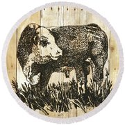 Round Beach Towel featuring the photograph Polled Hereford Bull 11 by Larry Campbell