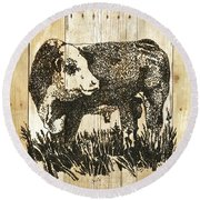 Polled Hereford Bull 11 Round Beach Towel