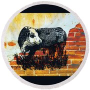 Polled Hereford Bull  Round Beach Towel